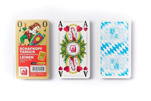 Leinen-Schafkopfkarten mit großen Eckzeichen